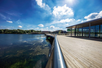 Image of boardwalk at Rushden Lakes leisure and shopping destination. Externals by Strata Design landscape architecture